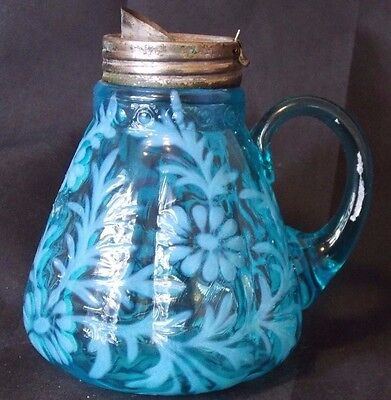 1890s Era Daisy & Fern Blue Opalescent Syrup Beaumont Northwood Fenton Art Glass