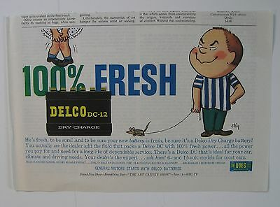 """1959 Delco Battery Magazine Ad """"100% Fresh"""" Art By Steig Not A Reproduction."""