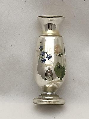 * Antique Mercury Glass Bud Vase Handpainted Flowers 4.5""
