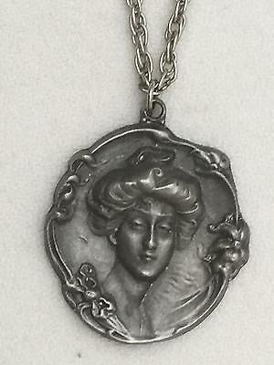 Lovely Art Nouveau Style Pewter Medallion Marked Goldn' Things Gibson Girl Type