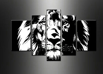 Modern Art Black and white Lion head ABSTRACT OIL PAINTING Canvas Wall Art Decor