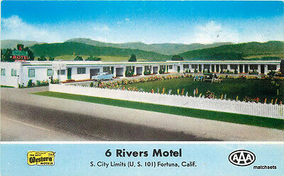 1940s Humboldt California 6 Rivers Motel Fortuna postcard 12538