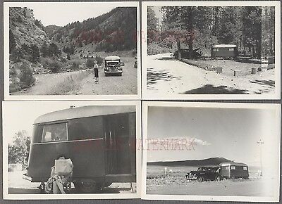 Lot of 4 Vintage Car Photos 1940 Buick & Travel Trailer Camping 775543