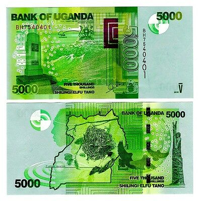 2015 Uganda 5000 Shillings Uncirculated One Note