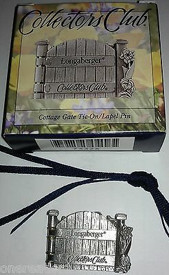 Longaberger Pewter Spring Meadow Basket Cottage Gate Tie On / Lapel Pin - NEW