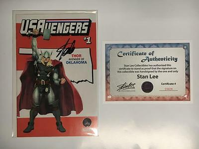 Us Avengers #1 Thor Oklahoma State Variant Cover Signed Stan Lee With Coa