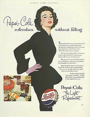 Pepsi-Cola refreshes without filling ad 1953 slim woman black dress