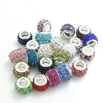 Wholesale mix silver round European Charm Beads Fit Necklace Bracelet jewelry