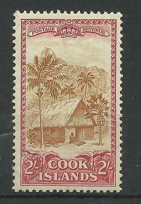 Cook Islands 1948 Sg 158, 2/- Yellow Brown & Carmine, LM/M. [862]