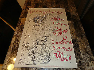 Lollapalooza RARE Promo Show Poster Green Day Flaming Lips Nick Cave Breeders L7