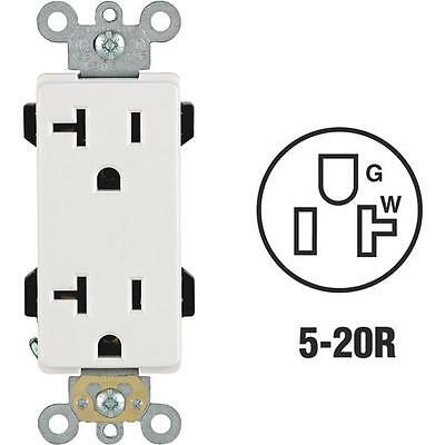 3-Leviton 20A White Residential 2 Pole 3 Wire 5-20R Duplex Outlet R62-16352-OWS