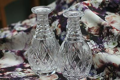 PAIR CRYSTAL CUT GLASS WATER WINE CARAFE decanter bottle