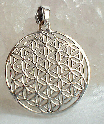 Lightweight 925 Sterling Silver Flower of Life Pendant~Sacred Geometry~Pagan