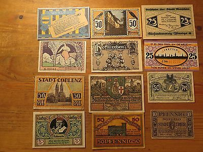 Germany  1920s Notgeld  Banknotes 12 pieces