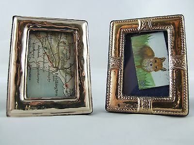Pair of miniature solid silver frames gilded doll house