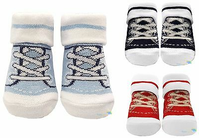 Baby Toddlers Socks Retro Lace up Sneaker Design Boys Girls Cotton Trainers New