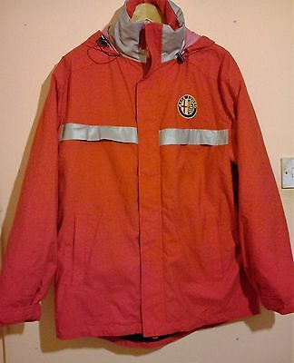 Alfa Romeo Red + Silver Winter Coat Hooded Size S Excellent Condition Warm