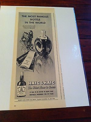 Vintage 1946 Haig & Haig Morgan Dennis Dog Etcher Cocker Spaniel Dog Print ad