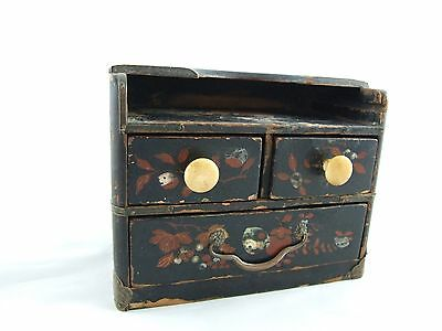 Miniature Chinese lacquered Mother of pear linlay chest of drawers doll house