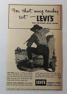 1952 LEVI'S denim/jeans ad ~ For That Snug COWBOY Cut
