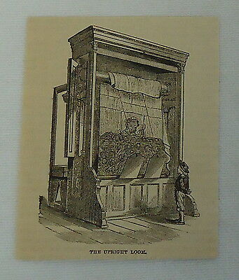 small 1882 magazine engraving ~ UPRIGHT LOOM