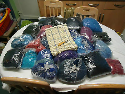 Mastive 4.8Kg Job Lot Of Hand Cut Yarn Plus 71Cm By 98Cm Canvas Plus Latch Hook