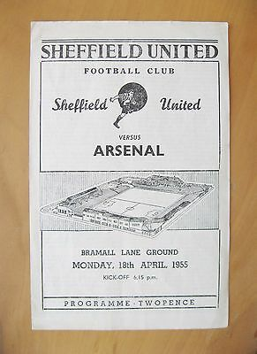SHEFFIELD UNITED v ARSENAL 1954/1955 (18/4/55) Exc Condition Football Programme