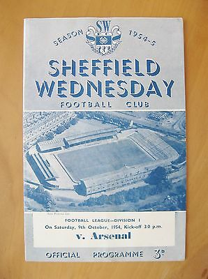 SHEFFIELD WEDNESDAY v ARSENAL 1954/1955 *Good Condition Football Programme*