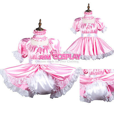 pink baby sissy maid satin dress Romper/diaper lockable Tailor-made[G3736]