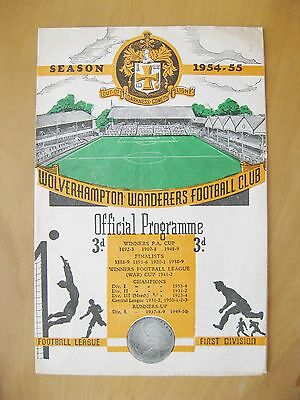 WOLVES v ARSENAL 1954/1955 *VG Condition Football Programme*
