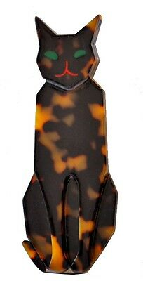 Huge Deco Shape French Faux Tortoise Shell Resin Sitting Cat Pin