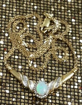 14K Yellow Gold Sterling Silver Genuine White Diamond Opal Cocktail Necklace New