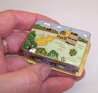 Vintage CLOISONNE Enamel TRINKET BOX Pot - Temple - KEEPSAKE