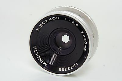 50mm f4.5 E Rokkor enlarging lens L39 screw fit lens, box, keeper