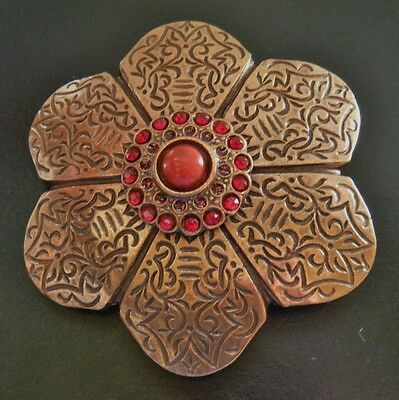 Bronze Colored Flower Red Stone Antique Brass Belt Buckles Boucle Ceinture