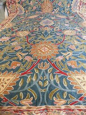 Crewel Embroidered Fabric 100'' X 65'' Beautiful Textile For Upholstery Throw