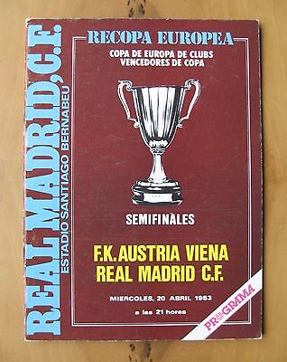 REAL MADRID v AUSTRIA VIENNA ECWC Semi-Final 1982/1983 *Exc Condition Programme*