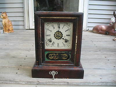 Gilbert Mantle Clock George Owen 1868 Patent 8 Day or 30 Hour, Key & Pendulum
