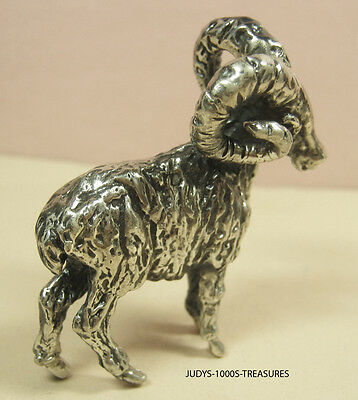 925 SILVER BIGHORN SHEEP RAM  MINIATURE 1.75x2x1.75 INCHES 45.40gr MADE IN ITALY
