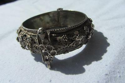 Antique Chinese Solid Silver Fine Filigree Slave Bracelet - X Small