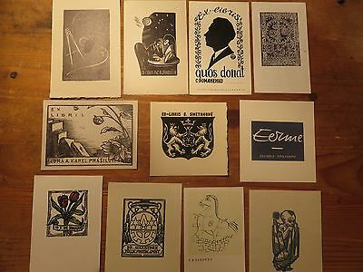 Vintage Ex Libris Job Lot ,11 pieces