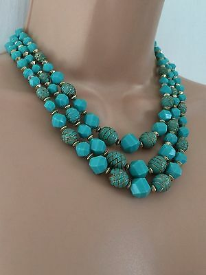 Vintage Circa 60s Turquoise & Gold Plastic Bead Triple Strand Statement Necklace