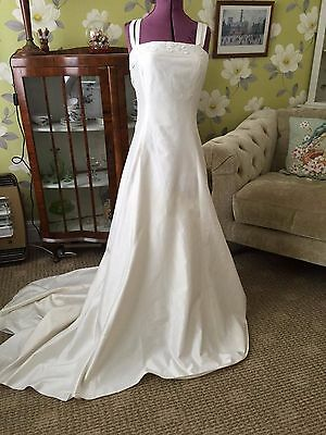 Vintage 80s 90s Cream Silk? Button Back Classic Wedding Dress With Train Size 8