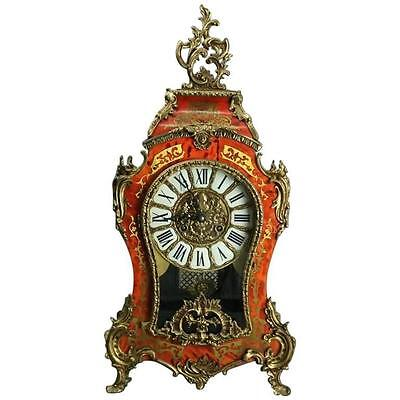 Vintage French Louis XIV Style Franz Hermle Boulle & Tortoise Mantel Clock