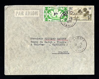 15557-FRENCH OCEANIA-AIRMAIL COVER PAPEETE to VALREAS (france) 1950.French colon