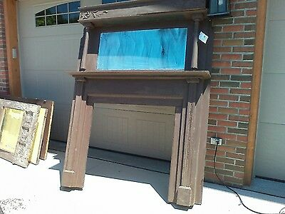 "Antique Large Qtr Sawn Oak Fireplace Mantel w/Mirror dated 1898 78"" Tall"