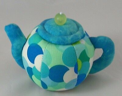 Teapot Sewing Pin Cushion Blue Green Dot Fabric with Pin Storage