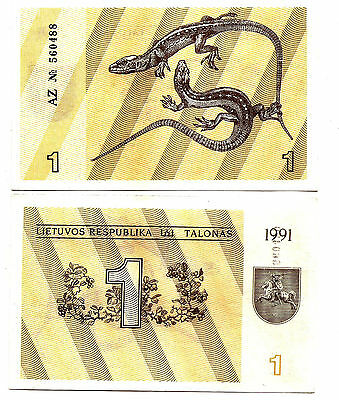 Lithuania / Lietuva 1 Talonas 1991 P-32a w/o text bank note UNC  lizards
