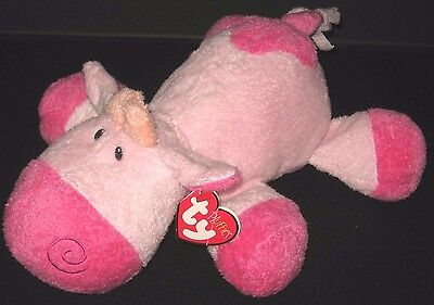 New Ty Pluffies Mooer Pink Cow Plush Tylux Beanie 2008 Baby Safe Toy