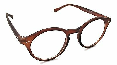 Matte Brown Round Oval Frames Clear Lens Glasses Geek Nerd Retro Style 501